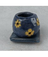 """Blue with Yellow Flowers Handmade Pottery Candle Holder & Stand 3"""" Signe... - $24.74"""