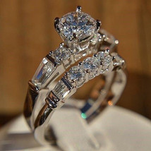 Boho Female Crystal White Round Ring Set Brand Luxury Promise Silver Eng... - $8.15