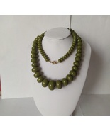 Vintage Retro Moss Green Long Necklace - $26.00