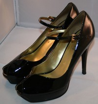 Guess Black Patent Leather Stiletto Heels Sz 7 Peep Toes Sexy WG Dustine Womens - $29.03