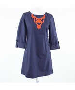 Navy blue orange vintage applique cotton blend LEE BUTLER 3/4 sleeve shi... - $44.99