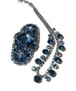 VINTAGE WEISS NECKLACE JULIANA BROOCH BLUE RHINESTONE AURORA BOREALIS SET - $150.00