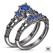 Blue Sapphire 10k Black Gold Finish Pure 925 Silver Engagement Bridal Ring Set - $94.98