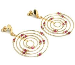 Drop Earrings Yellow Gold 750 18K, Circles Set, Tourmaline, Red Balls image 1