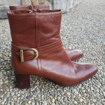 Anne Klein Brown Leather Upper Ankle Boots Size 6M - Small cosmetic damage - $17.99