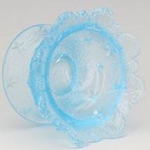 Vintage Glass LG Wright Stippled Star Blue Open Salt Celler image 2