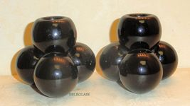 Westmoreland Solid Jet Black Glass 3 Ball Cannonball Candlesticks Candleholders - $29.99