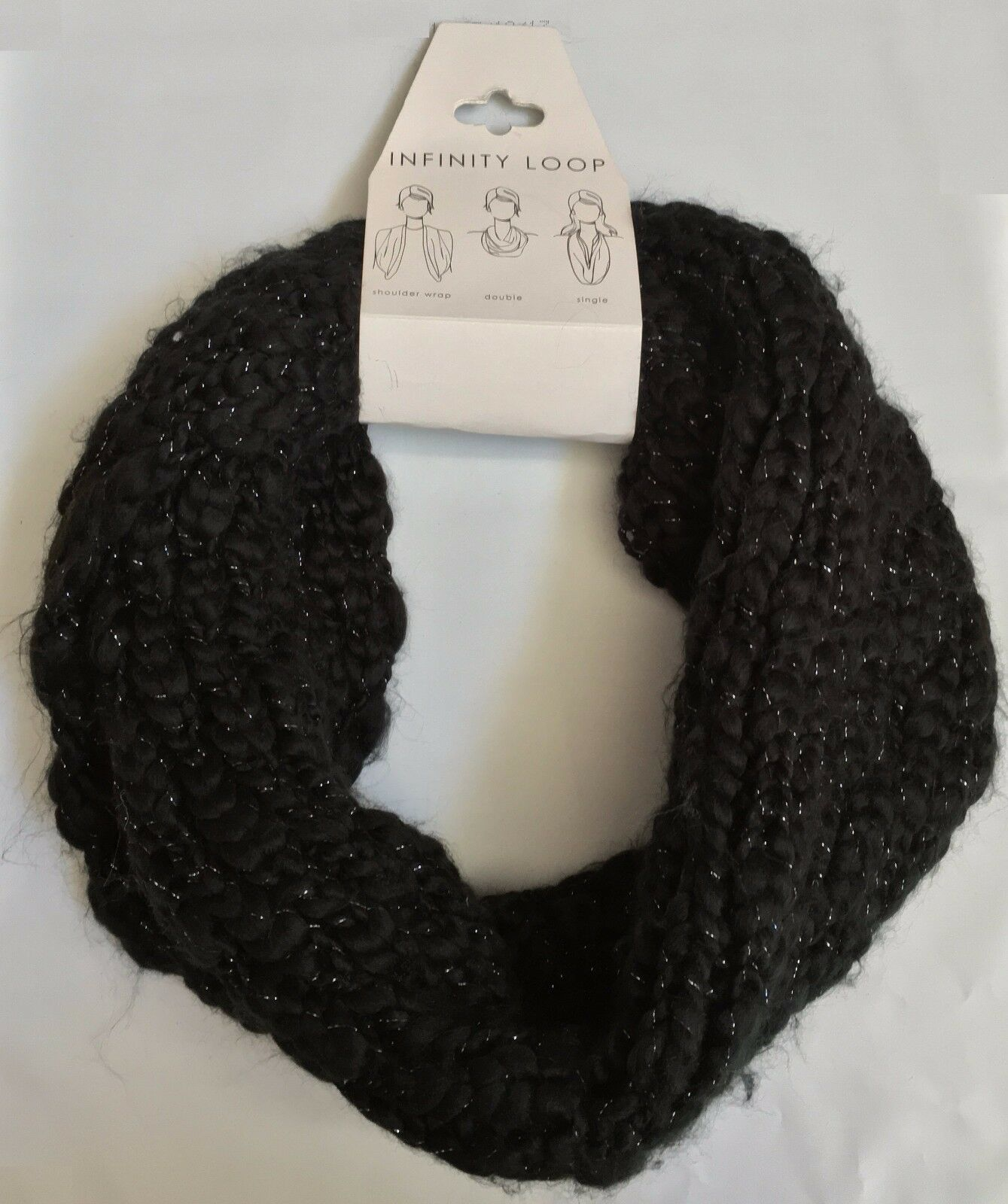 NWT VERA Black Silver Metallic Infinity Loop Knit Scarf One Size $38