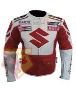 SUZUKI RED ICON MOTORBIKE SPORTS BIKE COWHIDE LEATHER MOTORCYCLE JACKET - $183.99