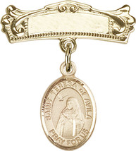14K Gold Filled Baby Badge with St. Teresa of Avila Charm Pin 7/8 X 3/4 ... - $103.09