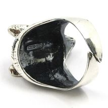 925 Silver Ring, Burnished Head of Wolf, Adjustable Size image 4