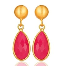 Pink Chalcedony Drop Earrings 18K Gold Plated 925 Sterling Silver Gift J... - $21.78