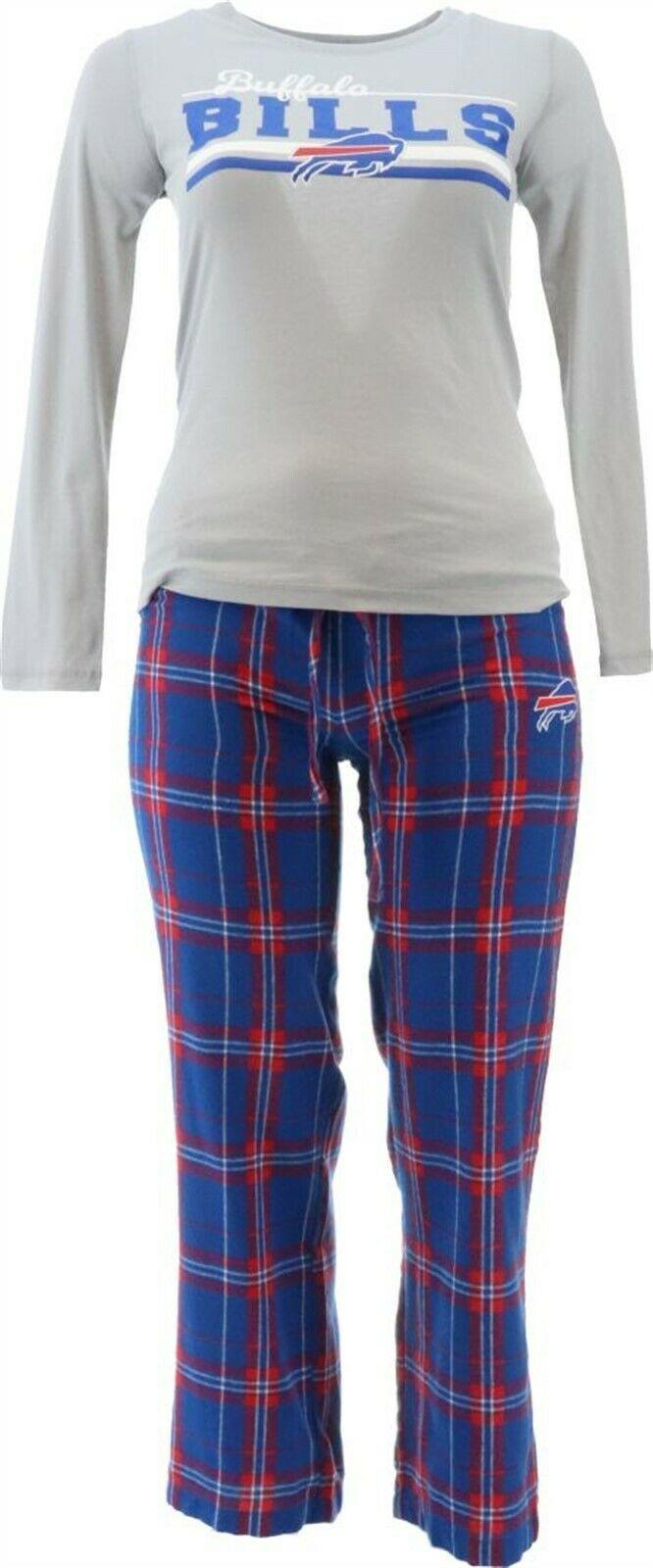 NFL Women's Pajama Set Long Slv Top Flannel Pants Bills M NEW A387687 - $30.67