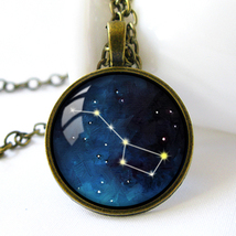 Retro Style Handmade Glass Dome Necklace, Big Dipper, C-290 - $8.00