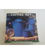 Vintage Graniteware Coffee Set Blue White Percolator 4 Cups Mugs NOS Ena... - $47.13