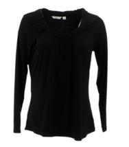 Liz Claiborne New York Gathered Scoopneck T-Shirt, Black, XXS - $18.80