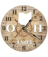 """OHIO CLOCK Established in 1803 Huge 15.5"""" to 16"""" COMPASS MAP RUSTIC STAT... - $44.10"""