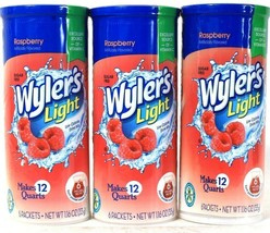 3 Packages Wyler's 1.16 Oz Light Raspberry Sugar Free 6 Count Pitcher Pa... - $19.99