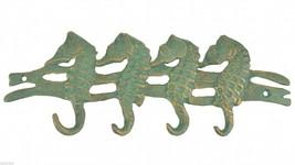 "Metal Wall Hook Rack Seahorses 10"" Wide Nautical Beach Home Decor Sea Ocean - $12.99"