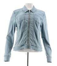 H Halston Stretch Denim Zip Front Jean Jacket Light Indigo 18W NEW A292204 - $37.60