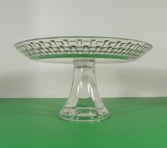 Glass BASKETWEAVE Rim Footed Torte Cake Cheese Plate Stand - $23.26
