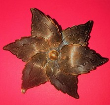 Vintage pure copper flower brooch intricate engraving - $20.00