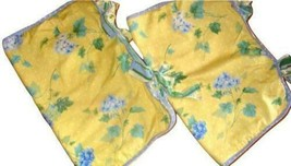 Waverly Blossom Hill 2 Standard Shams Yellow Floral Blue Hydrangeas W End Ties - $39.57