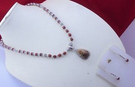 Wood Jasper-Red Jasper Jewelry Handmade Beaded Necklace f-103 - $6.92
