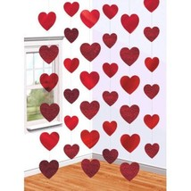 Red Hearts Valentines Day 6 Ct 7 ft Doorway String Decoration - $6.19