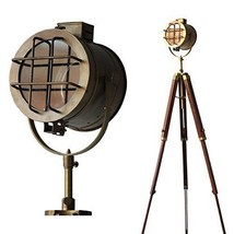 Nautical regency searchlight focus floor lamp three fold tripod  - $190.00