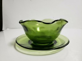 Vintage Indiana Glass Green OLIVE Pattern 2128 Mayonnaise Bowl & Underplate Set - $9.89
