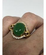 Vintage Green Jade Ring Gold Finish White Sapphire Size 8 - $64.35
