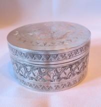 Vtg Metal silver tin canister trinket, snuff, dresser box Dove top hallm... - $45.00