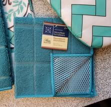 Kitchen Set 11pc Towels Dishcloths Mitts Placemats, Live Joy Laughter, Turquoise image 5