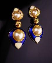 Signed earrings / jbk clip ons / Blue enamel / Jackie Bouvier Kennedy / ... - $65.00