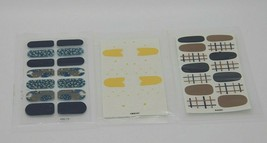Lot of 3 Nail Wraps (KSD-118, YMX141, DA202, Blue, Yellow, Brown, Flowers) - $7.91