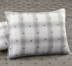 Martha Stewart Cotton Reversible Plaid Mist Quilted Pillow Sham  STANDARD - Gray - $13.30