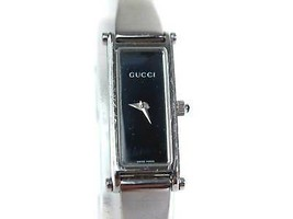 Auth GUCCI 1500L Stainless Steel Black Dial Ladies Watch GW11671L - $250.78 CAD
