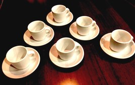 Willliams Sonoma 6 Everyday White Teacups Diner Mugs Saucers 2 Sets - $41.16