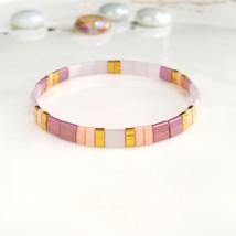 Purple pink rose tila bracelet,woman teen stack bracelet,mother daughter... - $20.95+