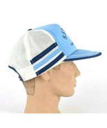 Vtg 70s 3 Stripe Trucker Hat Blue Snap Back Farm Seed Grain Mesh Marysvi... - $44.54