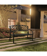 Iron Outdoor Black Patio Bench Chair Wrought Garden Porch Furniture Meta... - $145.50