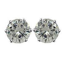 Women's Daily Wear Stud Earrings 14k White Gold Plated 925 Silver Round Cut CZ - $29.32