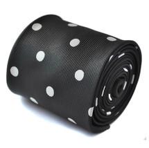 Frederick Thomas Black Mens Tie with White Polka Spots Design FT1454