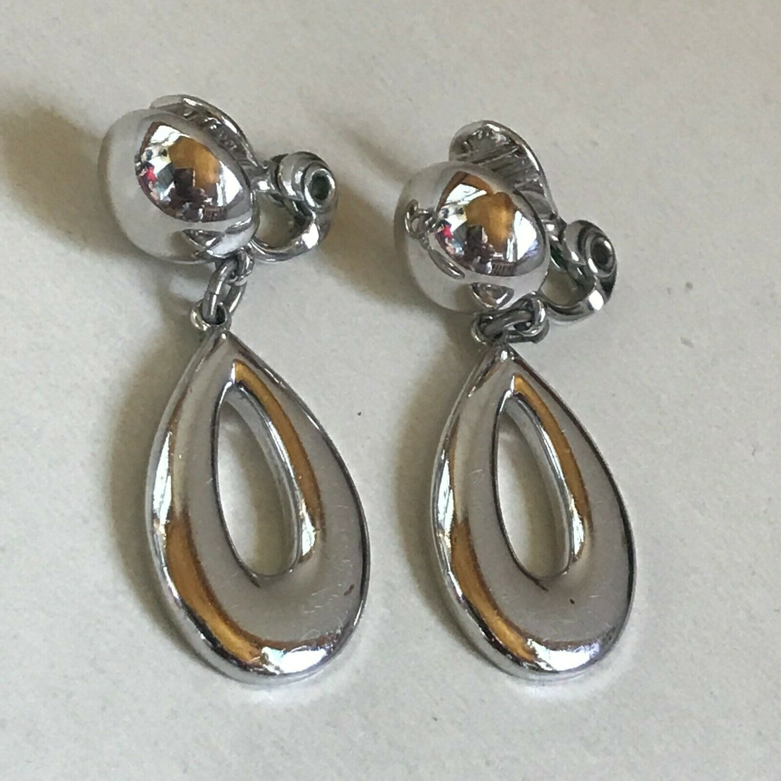 Primary image for Estate Monet Signed Silvertone Button w Open Oval Dangle Clip Earrings – marked