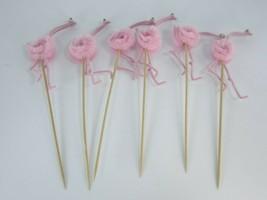 6 Chenille Bird Picks Pink Ostrich Flamingo Pick Appetizer 27791 Vintage - $23.75