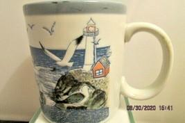 Vintage Textured OTAGIRI Seagull, Ocean, & Lighthouse Mug Gulls Summer S... - $17.75