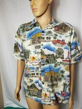 Rare Vintage Route 66 Go Barefoot Hawaiin Shirt Made in USA All Over Pri... - $48.99