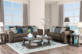 Edessa Sofa Set Featuring Blocky Shapes in Brown Linen-Like Fabric - $1,798.00