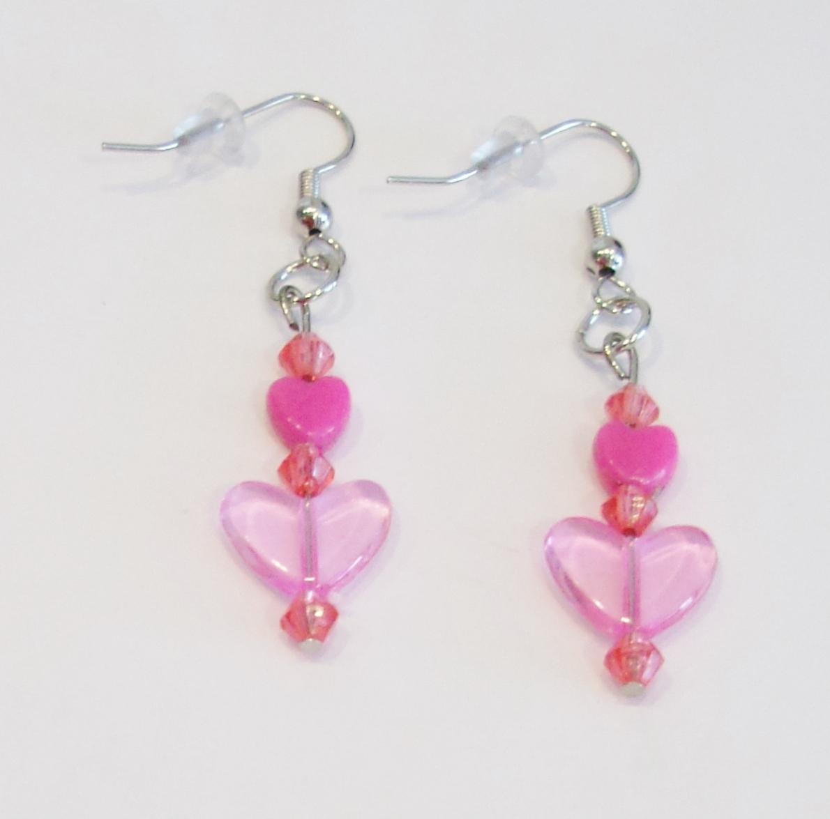 handmade pink heart bead dangle earrings